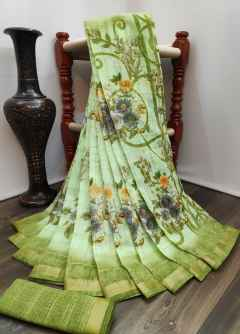 GARDEN RANI FLOWERS SOFT LINEN SAREE WITH PANTHER BORDER GREEN