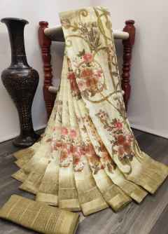 GARDEN RANI FLOWERS SOFT LINEN SAREE WITH PANTHER BORDER LIGHT BROWN
