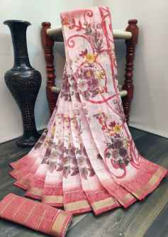 GARDEN RANI FLOWERS SOFT LINEN SAREE WITH PANTHER BORDER PINK