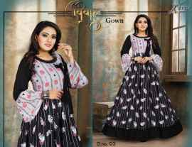 LATEST PARTYWEAR BEAUTIFUL VIVAH GOWN FOR WOMEN WHITE AND BLACK