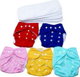 5 PIECES SET REUSABLE WASHABLE BABY CLOTH DIAPERS COMBO WITH 4 LAYER INSERTS RANDOM COLOURS