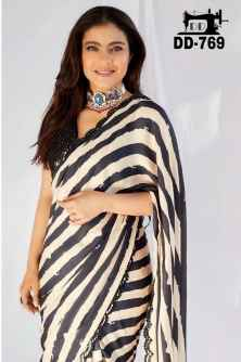 STYLISH DIVA WOMEN SAREE GO FANCY IN THIS BLACK AND WHITE COMBINATION