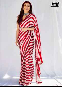 STYLISH DIVA WOMEN SAREE GO FANCY IN THIS RED AND WHITE COMBINATION