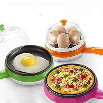 2 in 1 Electric Egg Frying Pan with Egg Boiler Machine Measuring Cup with Handle