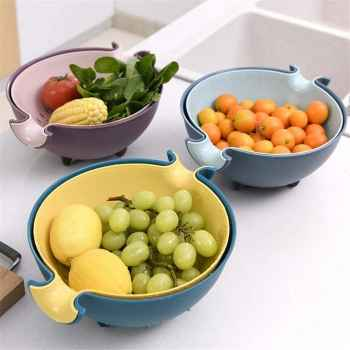 2-In-1 Kitchen Double Layer Strainer And Plastic Bowl (Random Colors)