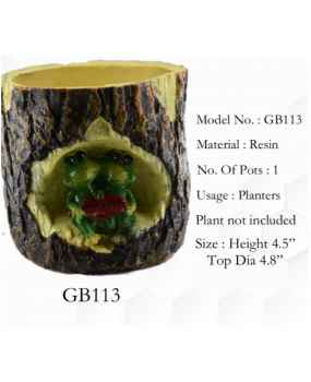 Frogs in wood design pot planter