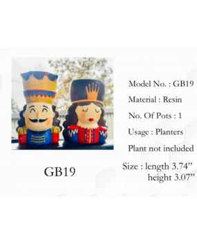 King - Queen Couple design pot planter - 1 pair