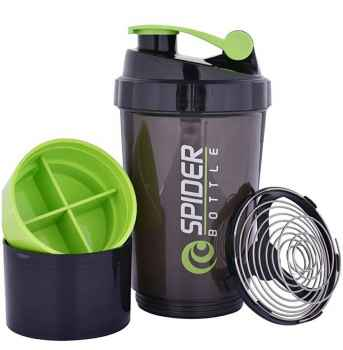 Unique Spider Protein Shaker Bottle 500ml with 2 Storage Extra Compartment for Gym