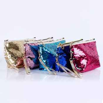 portable Washed Sequin Octagonal Cosmetic Bag