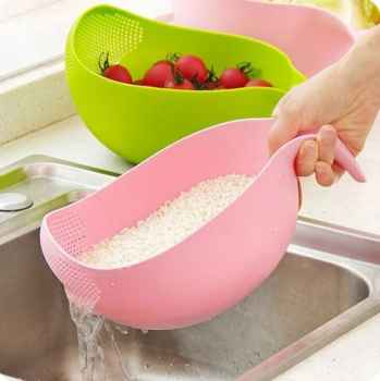 Rice Bowl Thick Drain Basket with Handle