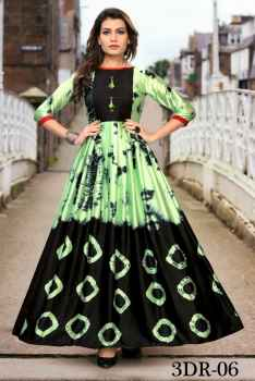 3DR WOMEN PARTYWEAR GOWN BLACK AND GREEN