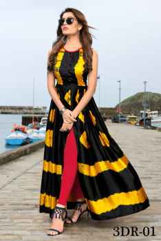 3DR WOMEN PARTYWEAR GOWN YELLOW AND BLACK