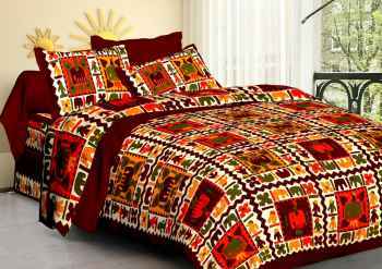 JAIPURI PRINT QUEEN SIZE 90X100 INCHES BEDSHEET COFFEE COLOUR BORDER
