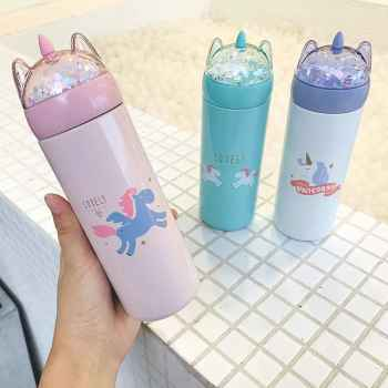 350 ML Unicorn Thermos mug Stainless Steel Coffee Travel Mug with Glitter Lid