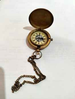 Brass Vintage Pocket Watch with Chain