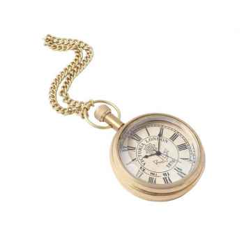 Brass Vintage Pocket Watch with Chain without Flap