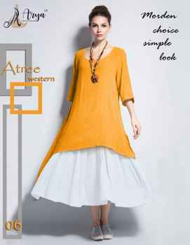 ATREE WESTERN DRESS TOP AND SKIRT FOR WOMEN YELLOW