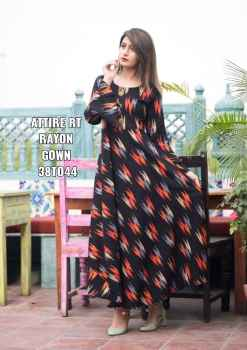 ATTIRE RT RAYON GOWN WITH ORANGE PRINT SUIT FOR WOMEN