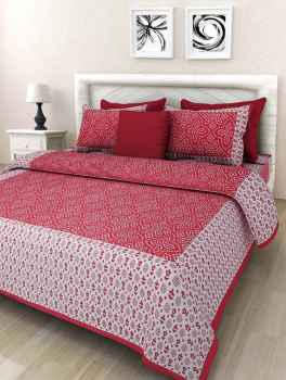 COTTON BEDSHEETS QUEEN SIZE BABY PINK BORDER