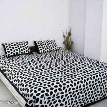 COTTON BEDSHEETS  QUEEN SIZE BLACT DOTTED