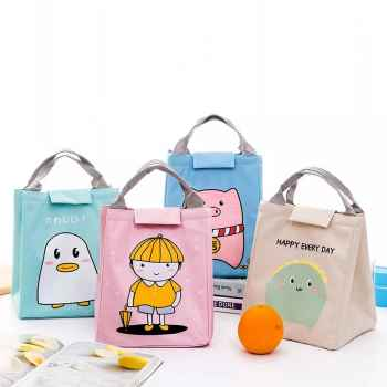 CUTE GIRL PORTABLE ANIMAL CAT ZIPPER CANVAS WATERPROOF INSULATED LUNCH BAG