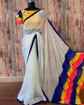 GEORGETTE WITH SHORT RUFFLE PALLU N Blue with White
