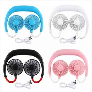 HANDS FREE NECK BAND HANGING USB RECHARGEABLE DUAL FAN 2000MA