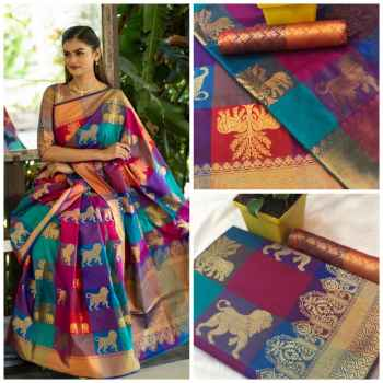 Kanchipuram Indian Ethnic Silk Saree Blue with Red