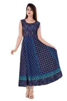 NEW PRINTED COTTON SUMMER KURTIS FOR WOMEN BLUE DOTTED