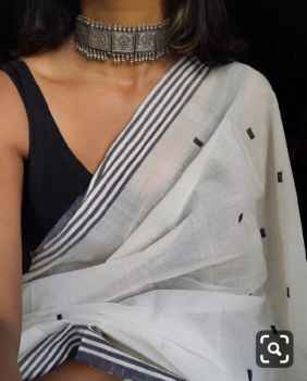 NEW REAL INDIAN BEAUTIFUL SAREES MUNAR SILK COTTON WHITE WITH BLACK DOTS