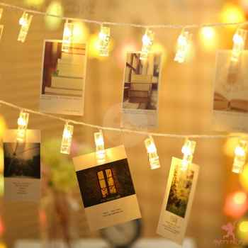 Photo wall light clip 16 LED Light String with Plug
