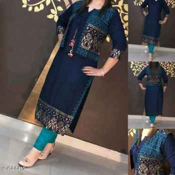 Rayon attractive kurti and jacket  with gold print