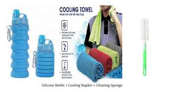 Silicone Collpasible Sipper Water Bottle With Cooling Towel And Cleaning Brush