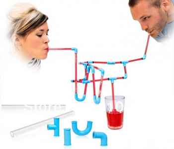 Straw Connectors Bendy Plastic Pipe Straws Reusable Toy Drinking Party Game