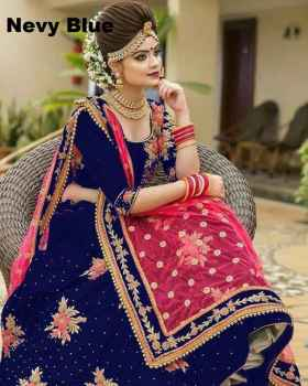 Women Blue Colour Designer Bridal Lehenga with Choli at best price